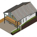 3D Rendered Image of the rear of New Dwelling in East Devon